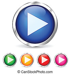 colorful play buttons - Illustration of play buttons on...