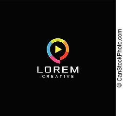 Colorful Play Logo Design Vector With A Black Background . Media Tech Logo . Vidio Logo
