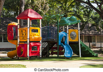 Colorful playground equipment.