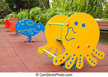 Colorful Playground in the park after raining