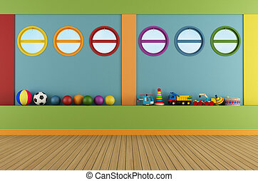 Colorful playroom with round windows and toys - rendering