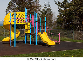 Colorful Playset and Mountains