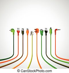 Colorful plug wire cables in perspective view vector...