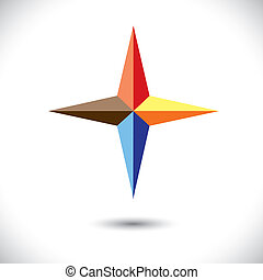 Colorful plus icon(positive sign) of triangles- vector graphic