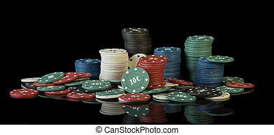 Colorful poker chips isolated on black background