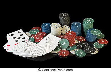 Colorful poker chips with cards on black background