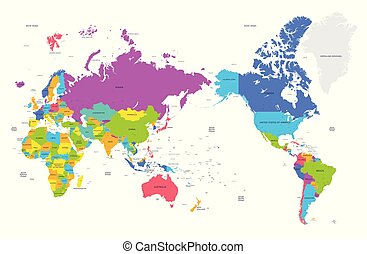 Colorful political map of the world with large cities, high...