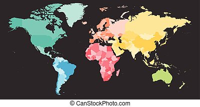 Simlified world map divided to six continents in dark grey world colorful political map of world divided into six continents blank vector map in rainbow spectrum gumiabroncs Image collections
