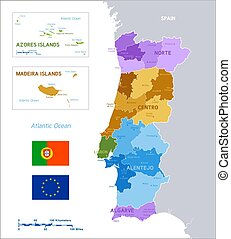Colorful political vector map of Portugal