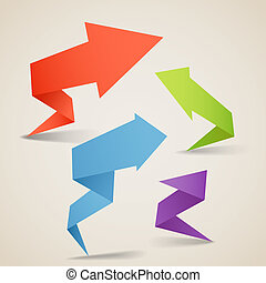 Colorful polygonal origami arrow banners. Place your text ...