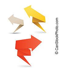 polygonal origami arrow banners