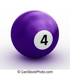 Single colorful pool ball on a white background