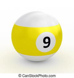 Colorful pool ball over white - Single colorful pool ball on...