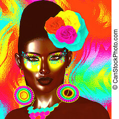 Colorful pop art image of woman's face