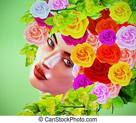 Colorful pop art image of woman's face with flowers in hair.
