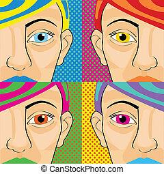 Colorful pop art women