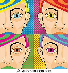 Colorful pop art women