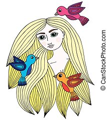 Colorful portrait of a beautiful girl with three little bird