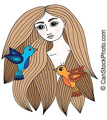 Colorful portrait of a beautiful girl with two little bird in hair