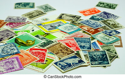 colorful post stamps on white