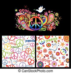 Colorful poster and wallpaper with abstract flowers, rainbow, hippie peace symbol and dove