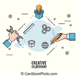 colorful poster creative process with silhouettes of hands with wrench and pencial and light bulb on cardboard box