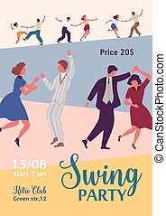 Colorful poster for swing party with dancing people and a ...