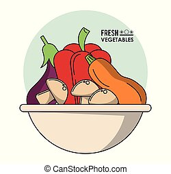 colorful poster of bowl with fresh vegetables