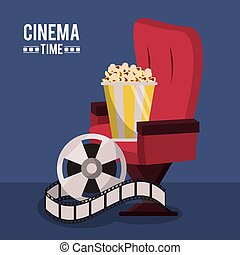colorful poster of cinema time with cinema chair and film reel and popcorn