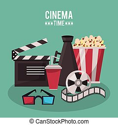 colorful poster of cinema time with clapperboard megaphone drink 3D glasses popcorn and film reel