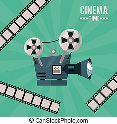 colorful poster of cinema time with movie projector and film tape