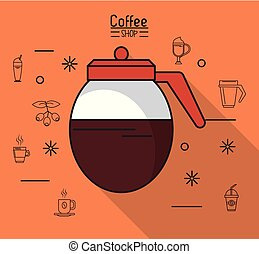 colorful poster of coffee shop with coffee jar