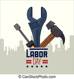 colorful poster of happy labor day with silhouette of city and tools screwdriver hammer and spanner