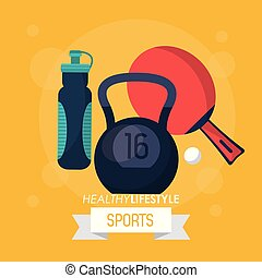colorful poster of healthy lifestyle sports with kettlebell weight ping pong racket and water bottle