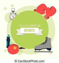 colorful poster of healthy lifestyle sports with round emblem light green