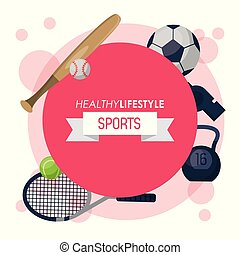 colorful poster of healthy lifestyle sports with round emblem magenta