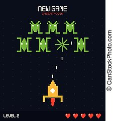 colorful poster of new game insert coin with graphics of spatial game level two