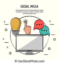colorful poster of social media with desktop computer in circle and icons light bulb and hand touch and speech bubble