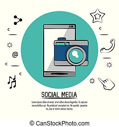 colorful poster of social media with smartphone and photo camera on blue circle