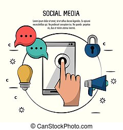 colorful poster of social media with smartphone in circle with icons of light bulb and speech bubble and megaphone and padlock