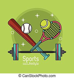 colorful poster of sports lifestyle with baseball bat and tennis racket and dumbbell