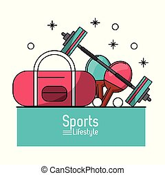 colorful poster of sports lifestyle with briefcase and dumbbell and ping pong rackets