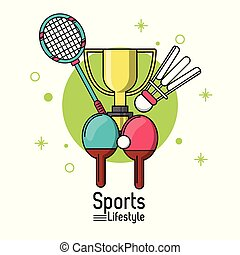 colorful poster of sports lifestyle with rackets of badminton and ping pong and trophy