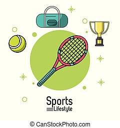 colorful poster of sports lifestyle with tennis racket and ball and trophy