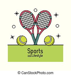 colorful poster of sports lifestyle with tennis rackets and balls
