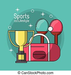 colorful poster of sports lifestyle with trophy of ping pong
