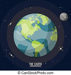 colorful poster of the planet earth in the space with satellites and moon around