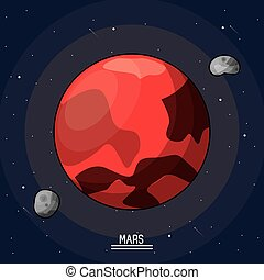 colorful poster of the planet mars in the space with asteroids in orbit