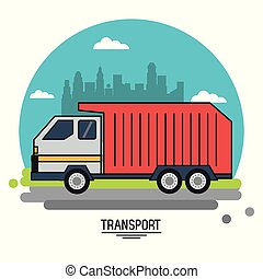 colorful poster of transport with garbage truck on background outskirts of the city in shape of sphere