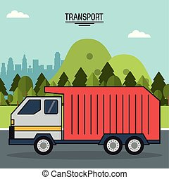 colorful poster of transport with outdoor landscape background with garbage truck in the way